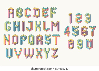 Memphis style abc. Isometric letters and Numbers. Low poly 3d characters. Geometric font. Colorful alphabet.