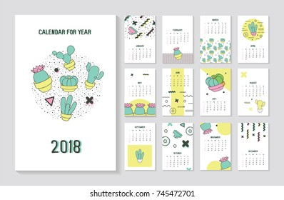 Memphis Style Abstract 2018 Year Calendar with Geometric Elements and Cactus. Trendy Modern Poster Set. Vector illustration
