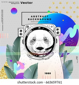 Memphis style background with cosmonaut bear, golden glitters and geometric patterns. 80s retro minimalistic style vector illustration for posters, placards, banners, covers and brochures.