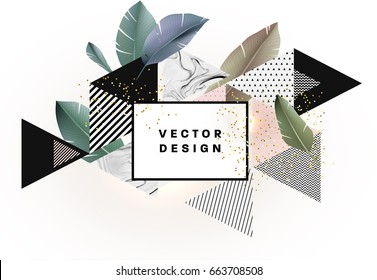 Memphis style background with marble texture, golden glitters and geometric patterns. 80s retro minimalistic style vector illustration for posters, placards, banners, covers and brochures.