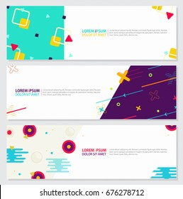 Memphis style Banner Design Set of Colorful templates with geometric shapes, Patterns Hipster Fashion 80s-90s. Perfect for Ad invitation, presentation Header, Page, Cover, Isolated Vector illustration