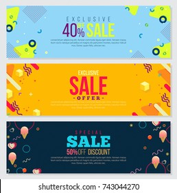 Memphis style Banner Design Set of Colorful templates with geometric shapes, Patterns Trendy Fashion 80s-90s. Perfect for Ad, invitation, presentation Header, Page, Cover, Isolated Vector illustration