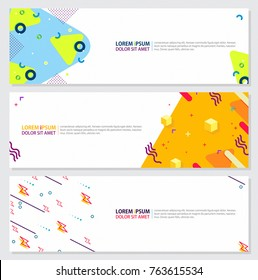Memphis style Banner Design Set of Colorful templates with geometric shapes, Bright Fashion 80s-90s. Perfect for Ad, invitation, presentation Header, Page, Cover, Isolated Vector illustration