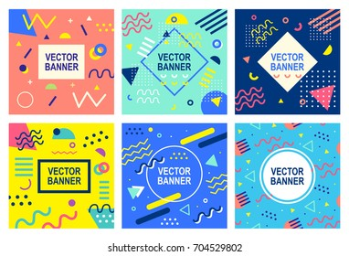 Memphis style banner templates collection. 80-90s trendy fashion background with geometric shapes. Vector illustration. Poster, invitation, greeting card, cover design.