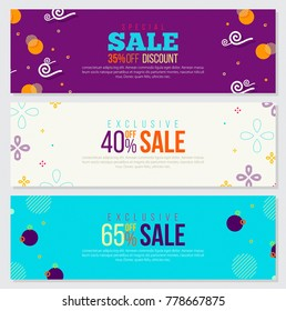 Memphis Style Banners Set with Colorful Geometric Shapes on Bright Background. Creative Trendy Fashion Style. Place for Discount Sale Text . Ideal for Web, Page, Offer, Header