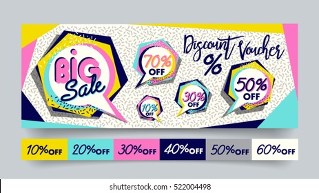 Memphis style Big Sale website banner template set. 80's, 90's style bright colorful vector for social media, posters, email, print, ads, promotional material. Yellow Pink Blue black and white