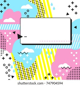 Memphis Style Card. Blue, yellow, pink, black and white geometric shapes. A bright trend illustration for printing invitations, postcards, labels, posters. Template for placing text or pictures.