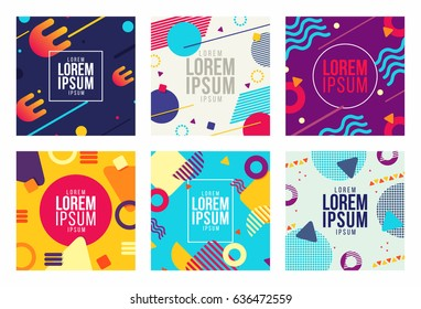 Memphis style cards Design Collection of Colorful templates with geometric shapes, patterns with trendy Memphis fashion 80s-90s. Perfect for ad, invitation, presentation Isolated Vector illustration