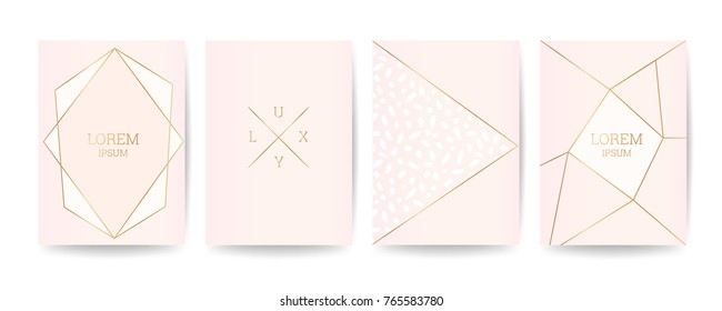 Memphis style cover. Gold Polygon Frame design for fashion luxury and wedding Invitation Cards.