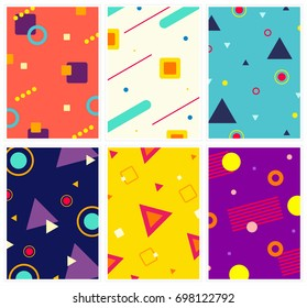 Memphis style covers set with abstract geometric patterns. Colorful templates in trendy fashion 80s-90s.  Perfect for ad, print, web, cards and more. Vector