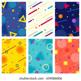 Memphis style covers set with geometric shapes and patterns. Collection of templates in trendy fashion 80-90s. Perfect for cover design, ad, posters, books, greeting cards . Vector.