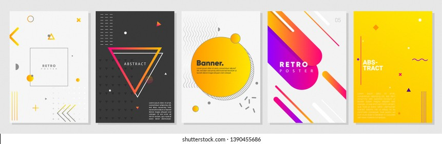 Memphis style creative poster set. colorful concepts with geometric elements. ideal for social media, print, marketing, ad, cover, web, landing, page.
