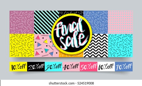 Memphis style Final Sale website banner template set 80's 90's style. Bright colorful vector for social media, posters, email, print, ads, promotional material. Yellow Pink Blue black and white.