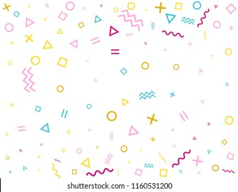 Memphis style geometric confetti vector background with triangle, circle, square shapes, zigzag and wavy line ribbons. Simple 90s style bauhaus pink cyan yellow party confetti flying on white.