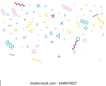 Memphis style geometric confetti vector background with triangle, circle, square shapes, chevron and wavy line ribbons. Tinsel 90s style memphis pink blue yellow party confetti falling on white.