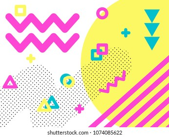 Memphis style geometric pattern, line elements and geometric figures. Design backgrounds for invitation, brochure. - vector illustration