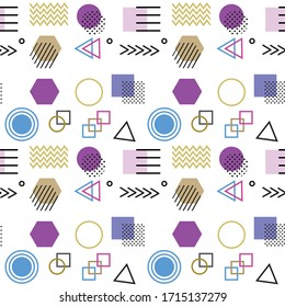 Memphis style with geometric pattern, vector illustration with geometric figures. Trendy seamless pattern