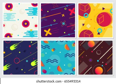 Memphis style Large Background Design Collection of Colorful templates with geometric shapes, patterns trendy fashion 80's-90's. Ideal for ad, invitation, presentation Isolated Vector illustration