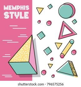 memphis style pattern 3d figures geometric traingle circle square