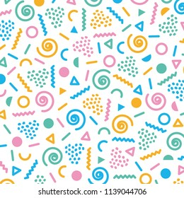 Memphis style pattern abstract background. confuse geometric and lines.colorful pattern designs nostalgic '80s and '90s.