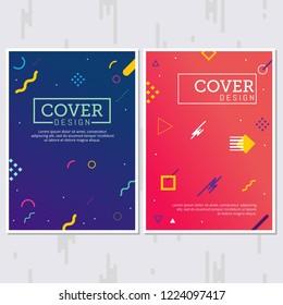 Memphis Style Poster. Fluid Color Backgrounds