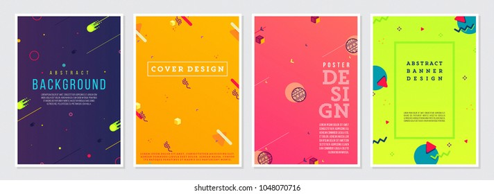 Memphis Style Poster Set. Bright Color Backgrounds with Futuristic 3D Elements. Flat style Abstract Vector Design ideal for Banner, Web, Promotion, Ad, Placard and Billboard