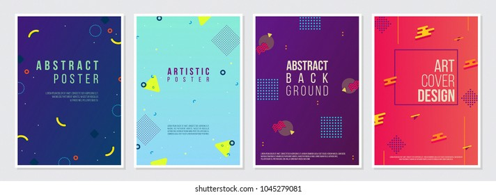 Memphis Style Poster Set. Fluid Color Backgrounds with Futuristic 3D Elements. Flat style Abstract Vector Design ideal for Banner, Web, Promotion, Ad, Placard and Billboard