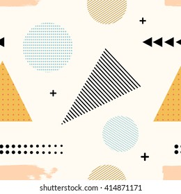 Memphis style. Seamless texture of fabric, prints, polygraphy. Memphis pattern with geometric design elements. Seamless illustration of abstract elements. Stock vector