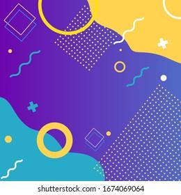 Memphis-Stilvorlage. Trendfarben in stilvollem Design mit Platz für Text. Bildschirmschoner für Ihr Telefon, Ihren Computer oder Ihr Tablett mit hellen und saftigen Farben. Geometrische Formen auf hellem Hintergrund.