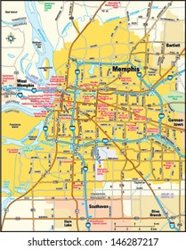 Memphis, Tennessee area map