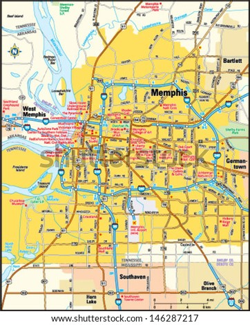 Memphis Tennessee Area Map Stock Vector (Royalty Free) 146287217 ...