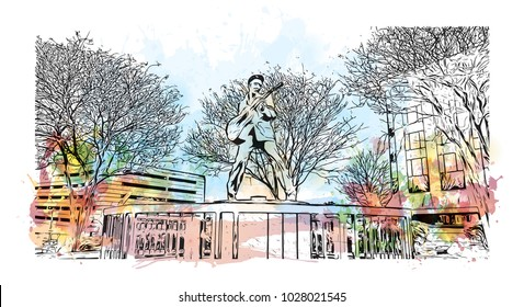 Memphis in Tennessee, USA. Watercolor splash with Hand drawn sketch illustration in vector.
