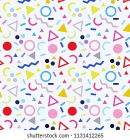 Memphis vector seamless pattern with geometric elements. Retro backdrop in hipster style. Bacground can be used fabric or wrapping paper