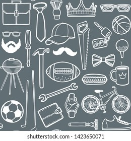 Men Accessories Pattern. Men Background in Hand Drawn Style for Prints Cards Banners Posters Fliers. Vector Illustration