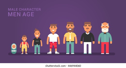 Men age. Generations, life stages of men. Web banner with dark blue background