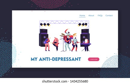 Men Artists Playing with Musical Instruments, Rock Band Performing on Stage. Electric Guitarists, Drummer, Singer, Trumpeter Website Landing Page, Web Page. Cartoon Flat Vector Illustration, Banner