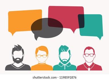 Men  avatar profile picture set. Businessman, coworkers, team, think, Question. Idea, Brainstorm. Business concept vector illustration.
