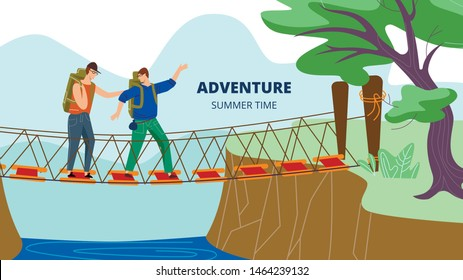 Men with Backpacks Walk at Staggering Suspension Bridge above River in Forest or Park. Summer Time Adventure, Vacation, Trip, Hiking Hobby, Outdoors. Horizontal Banner Cartoon Flat Vector Illustration