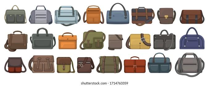 Men bag vector cartoon set icon. Isolated cartoon set icon leather satchel. Vector illustration men bag on white background.