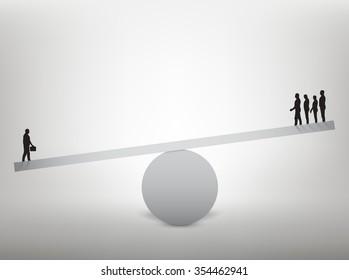 Men balanced on seesaw over a single man. Vector illustration