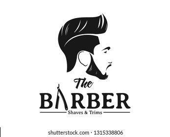 Men Barbershop Hairstylist Banner Logo Badge Stock Vector Royalty Free 1315338806
