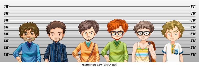 Men being suspected for crime illustration