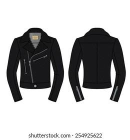 Men Biker Jacket in Black Leather Seamless Pattern