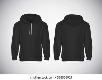 Men black hoody. Realistic mockup. Long sleeve hoody template on background.