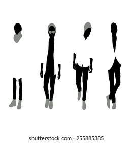 Men black silhouettes