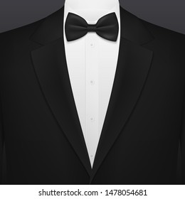 Men black smoking suit with necktie blank background template. Vector VIP party, wedding or fashion and corporate event tuxedo with black bow and white shirt, businessman or gentleman premium club