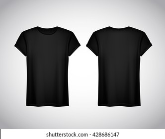 Men black T-shirt. Realistic mockup. Short sleeve T-shirt template on background.