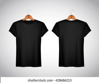 blank black t shirts mockup hanging on の写真素材 今すぐ編集