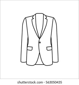 Men blazer or jacket symbol simple line icon on background