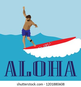 Men in blue shorts surfs on the longboard nose with letters Aloha